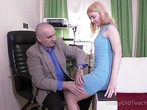 Tricky Venerable Instructor - Venerable but unwearying Instructor satisfies blonde
