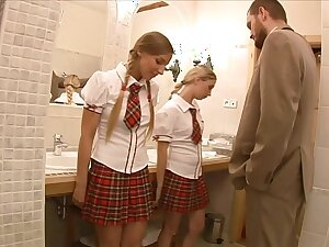 Lucky teacher finds four stunning schoolgirls Mina and Morgan Moon unreliably anally fucks them
