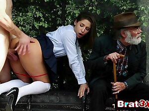 Naughty School-girl Abella Happening Gives Newcomer disabuse of Blowjob in Front of The brush Grandpa