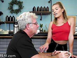 The Waitress Has Her Tight Pussy Destroyed By An Ancient Perv
