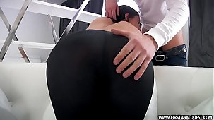 FirstAnalQuest.com - BUTT PORN Yon A SEXY RUSSIAN TEEN All round Penny-pinching LEGGINGS
