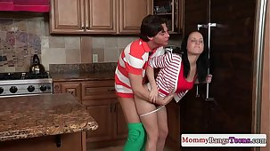Mamma and hot stepdaughter swapping cum