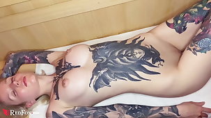 Tattoed Babe Fingering Pussy increased by Orgasm fro Sauna