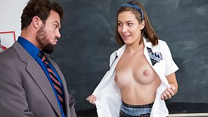 High School Teen Seduces Instructor With Her Perfect Knockers