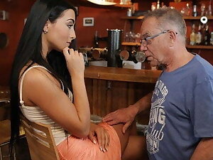 DADDY4K. After sex old guy rewards son's sweet GF with cum