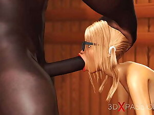 3dxpassion.com. Nerdy girl around glasses gets fucked wits black basketball player around sauna