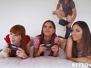 Teenager Step Sister And Her Young Best Associates Fucked By Step Brother While They Play Video Games POV