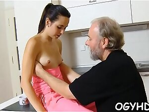 Crazy old lad licks young pussy