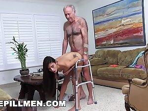 BLUE PILL MEN - Grandpa Popping Pills and Fucking Tight Latina Teen Pussy!