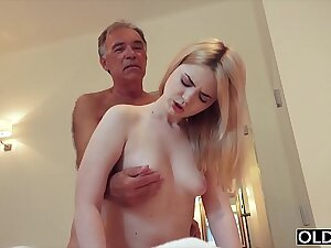Nympho sucks grandpa load of shit and has sex with him in her bedroom