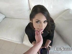 Cute brunette enjoys being fucked in a catch ass - Nomi Melon
