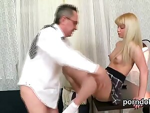 Kissable college girl gets seduced together with fucked by her experienced tutor