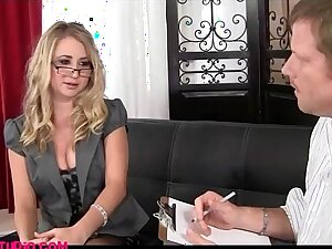 Realpornstudio.com blond office girl comes in for a porn job and gets fucked